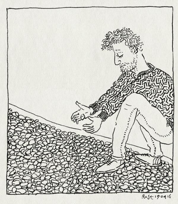 tekening 3252, grindpad, kansberekening, opspringen, papa, richting, steentjes, toeval, verhaal
