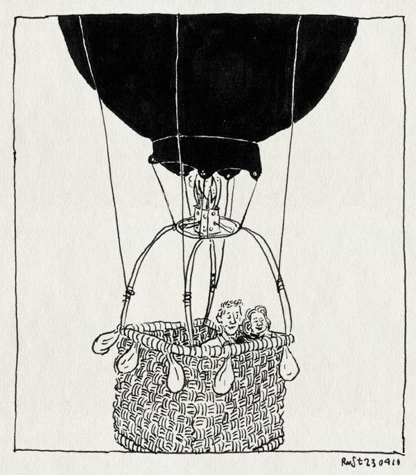 tekening 3256, 12eneenhalf, ballon, brons, jubileum, luchtballon, marieke, michel, trouwdag