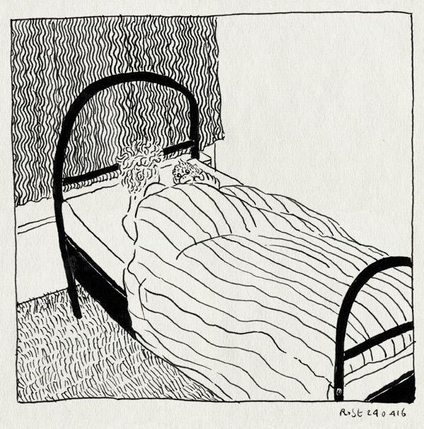 tekening 3257, alleen, apie joekie, castricum, catsstraat, eenpersoonsbed, kamertje, mama