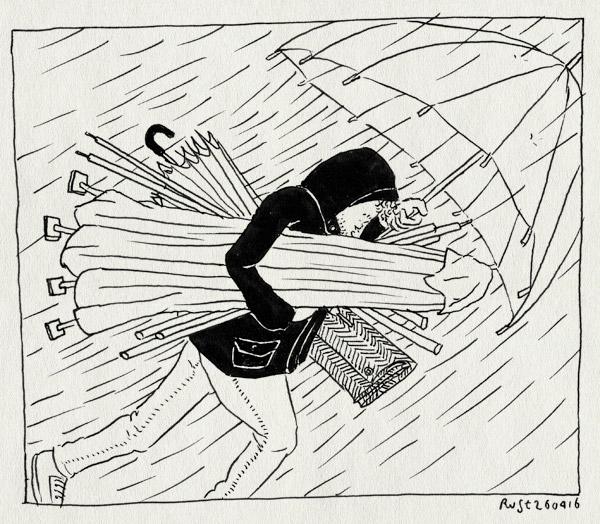 tekening 3259, koningsdag, noodweer, paraplu, parasol, partytent, regen, voorbereiding, zeil