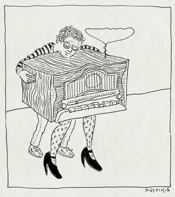 tekening 3264, hakken, hotel perdu, houten huis, midas, radio, rianne, tim, voorstelling, wart