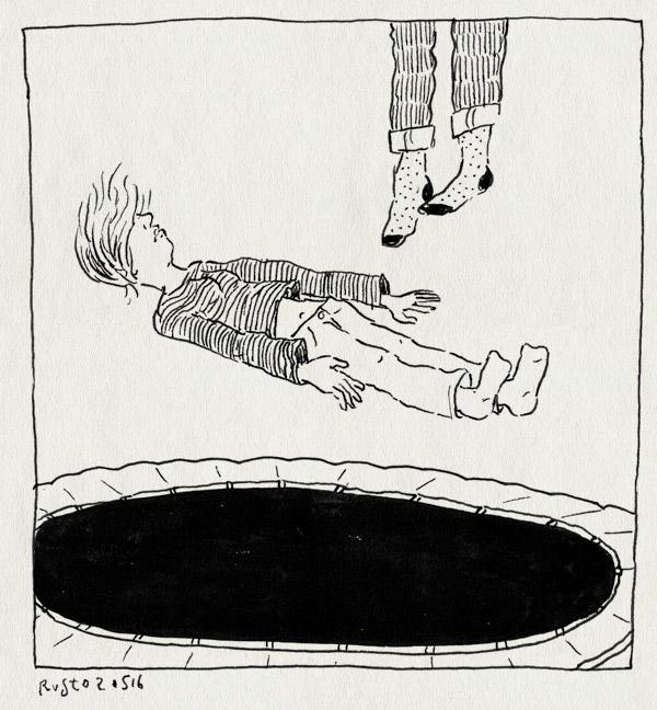 tekening 3265, amsterdam, elenie, huis, mirjam, trampoline, zweven