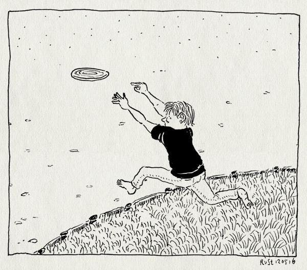 tekening 3275, amsterdam, beatrixpark, frisbee, gras, midas, vangen, vijver, water