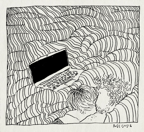 tekening 3276, bed, computer, dekbed, fijn, liggen, lui, macbook, mirjam, samen, serie