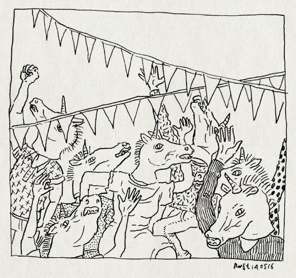 tekening 3277, dansen, eenhoorn, feest, jeeej, maasstraat, masker, maskers, slingers, unicorn, verjaardag, vlaggetjes