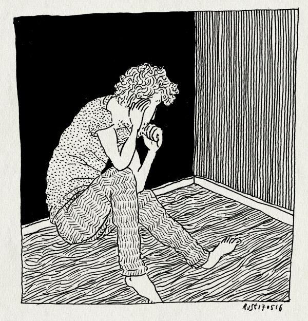 tekening 3280, denken, hoekje, klaar, patronen, peinzen, verdriet, verdrietig