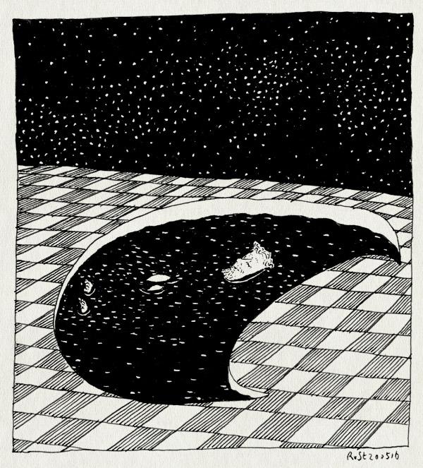tekening 3283, fan art, maan, moon shaped pool, nacht, radiohead, sterren, zwembad