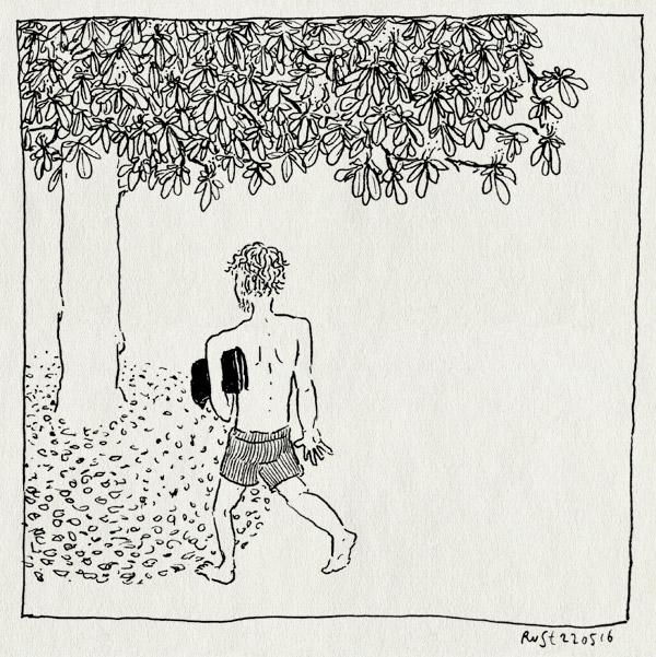 tekening 3285, buiten, kastanje, kastanjeboom, kleedje, liggen, zomer