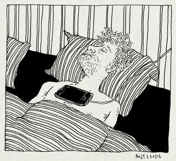 tekening 3286, alleen, appen, bed, eenzaam, iphone, lader, telefoon, wachten