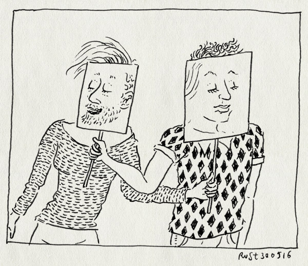 tekening 3293, bordje, faceswap, gezichten, maskers, mirjam, snapchat, verwisseling