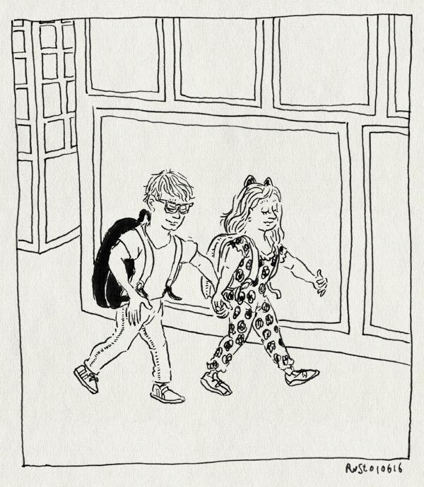tekening 3295, alwine, amsterdam, avondvierdaagse, broer, lief, midas, rugtasjes, samen, wandelen, zus