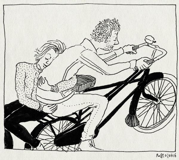 tekening 3296, achterop, fiets, fietsen, knuffelen, kruisframe, liefde, mirjam