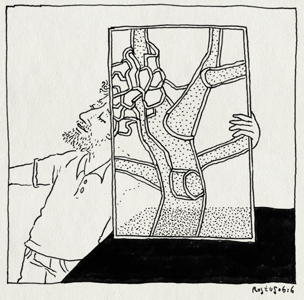 tekening 3299, atelier schmit, boom, glas in lood, haarlem, joost swarte, raam, stripdagen