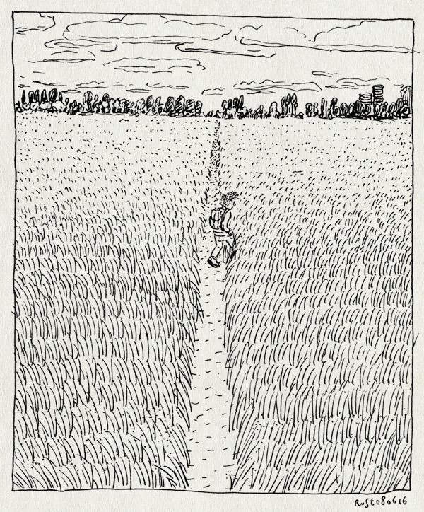 tekening 3302, alleen, amstel, amsterdam, fijn, skyline, velden, wandelen