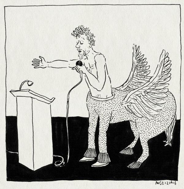 tekening 3306, duplex, ellen deckwitz, fabeldier, microfoon, pegasus, poetry international, presentatie, rot heater, rotterdam, spreekgestoelte, stripgedichten