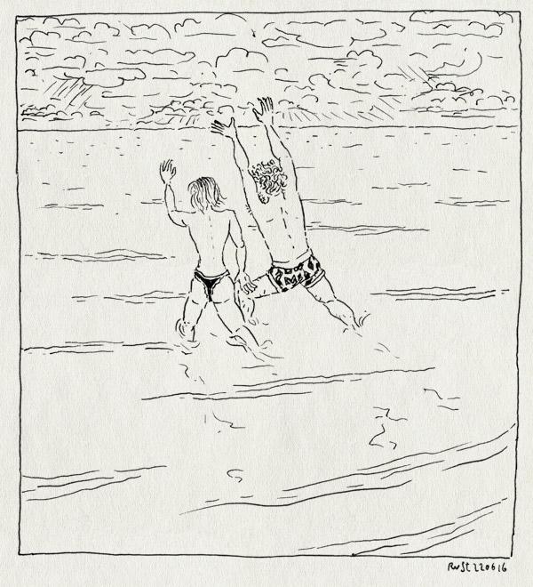 tekening 3316, anneke, eerste ontmoeting, lucht, mama, mirjam, naakt, noordzee, onderbroeken, rennen, schoonmoeder, wolken, zee, zwemmen