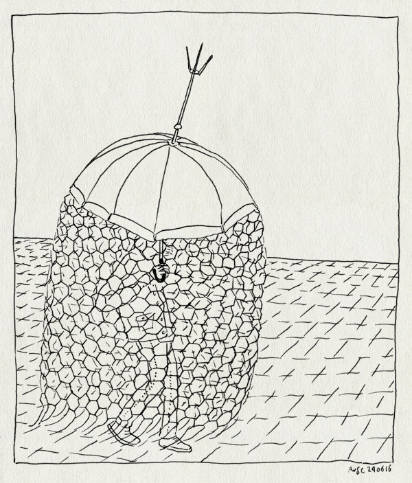 tekening 3318, bliksemafleider, kooi van faraday, onweer, paraplu, regen, straat