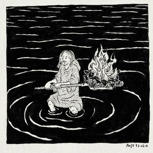 tekening 3321, badcape, bojan, nacht, ritueel, schep, verjaardag, vuur, vuur maken, zee