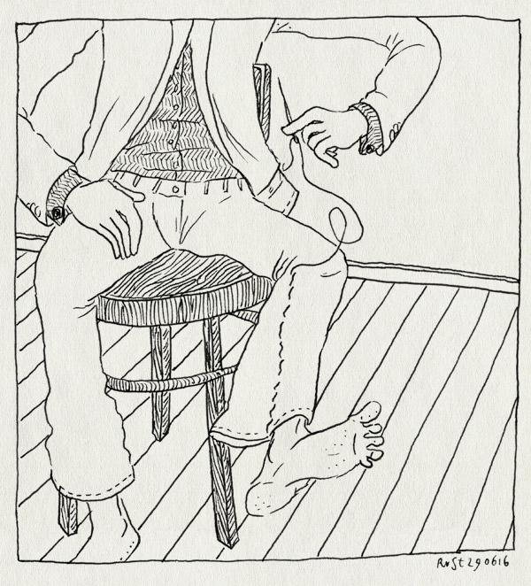 tekening 3323, broek, draad, koning, kruk, naald, pak, pantalon, verstellen, voorbereiding