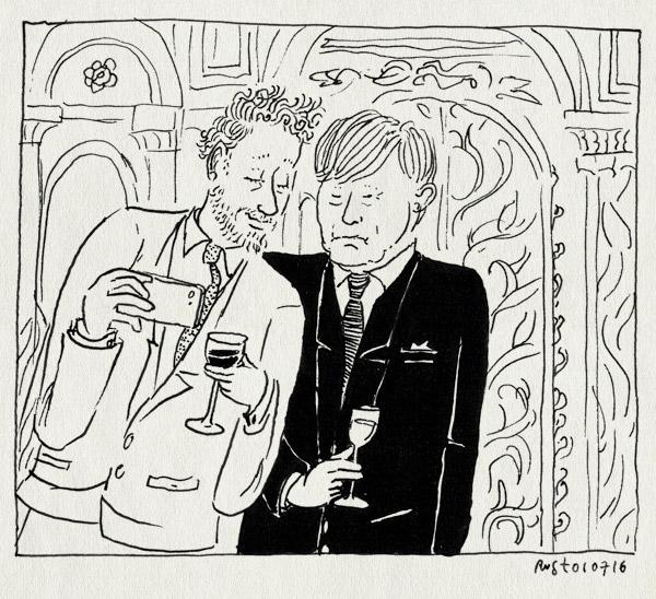 tekening 3325, koning, koninklijk paleis amsterdam, opening, paleis, selfie, wijn, willem-alexander