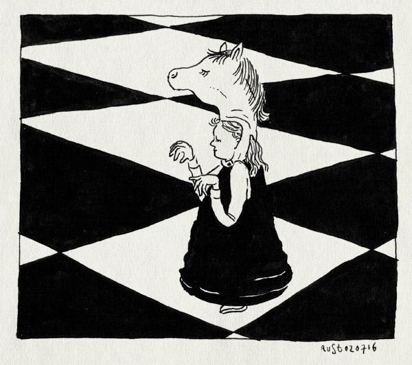 tekening 3326, alwine, feest, levend schaken, maasstraat, paard, schaakstuk, straatfeest, zomer aan de maas