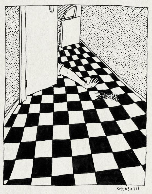 tekening 3327, gang, muis, tegels, thuis, vangen, vloer