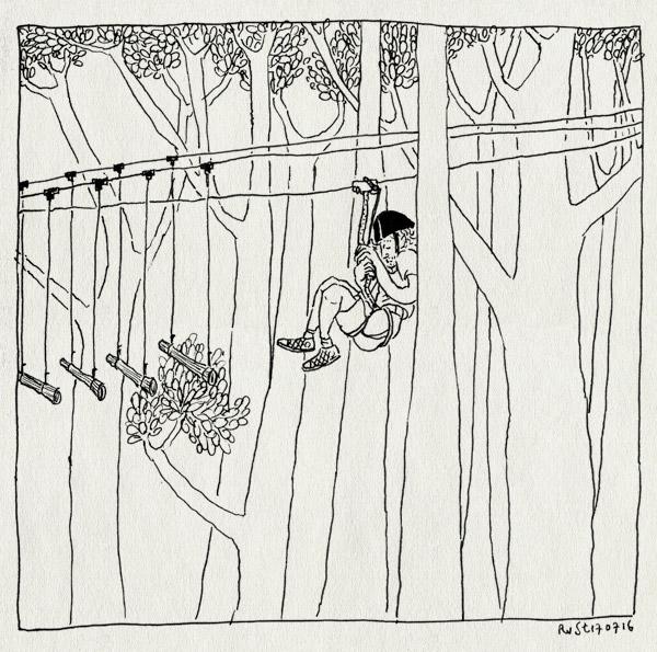 tekening 3341, amsterdamse bos, bomen, helm, klimpark, tokkelbaan, tokkelen