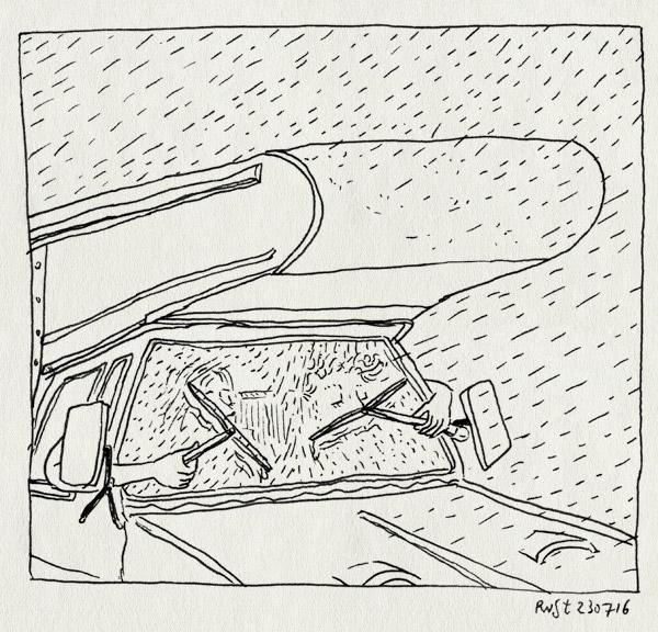 tekening 3347, camper, dodge, handmatig, mirjam, oplossing, panne, regen, roadtrip, ruitenwisser, ruitenwissers, stuk, vakantie, wisser
