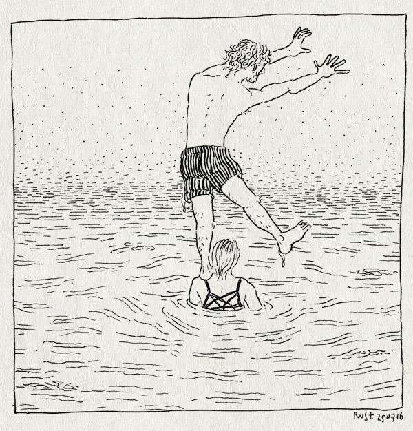 tekening 3349, acrobatiek, camper, dodge, france, jura, le grand lac, meer, mirjam, roadtrip, vakantie, zwemmen