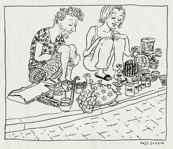 tekening 3354, brocante, camper, dodge, gekocht, mirja, oogst, roadtrip, rommelmarkt, straat, vakantie, vangst, vide grenier