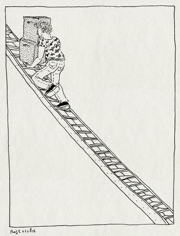 tekening 3356, amsterdam, de wittenkade, dozen, ladder, mirja, trap, verhuisdozen, verhuizen, west