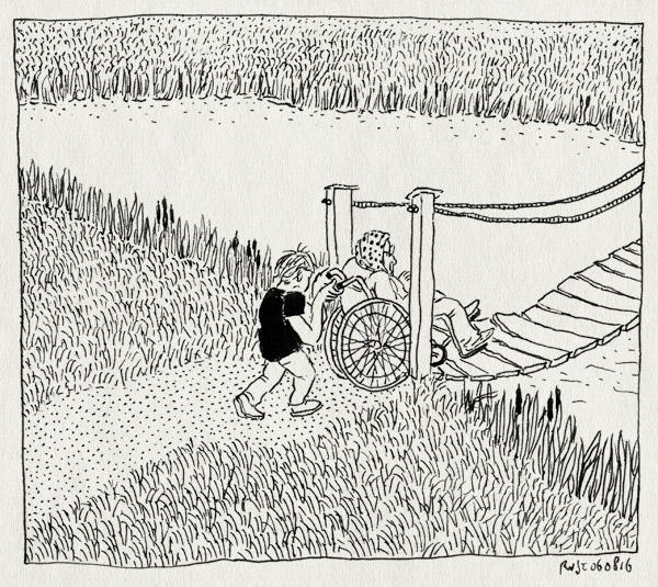 tekening 3361, an, brug, duwen, maatje, midas, riet, rolstoel, twiske, water