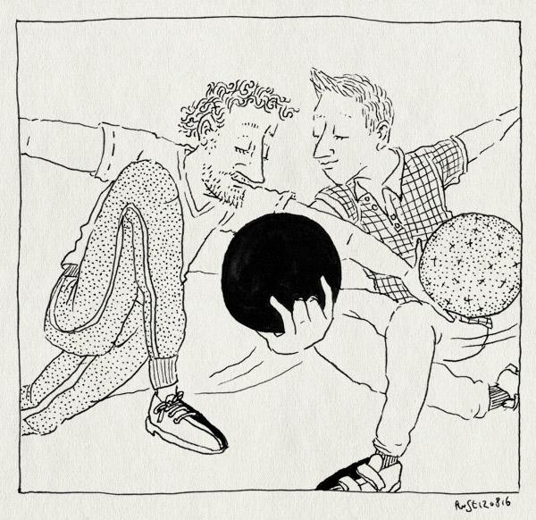 tekening 3367, bowlen, bowlingbal, familie, kruislings, marcel, verjaardag