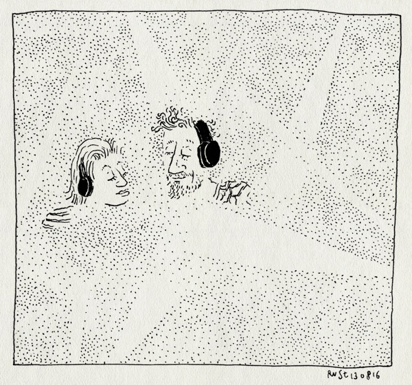 tekening 3368, club Gewalt, dook, koptelefoons, licht, mirjam, parade, rook, w.o.m.b., womb