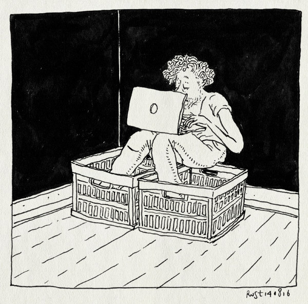 tekening 3369, afronden, inpakken, kratjes, vakantie, vakantiestress, werken