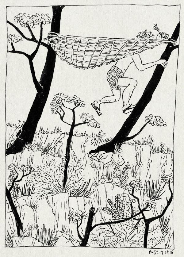 tekening 3372, afgrond, bomen, camping, frankrijk, hangmat, la borio de roque, languedoc, ophangen, vakantie