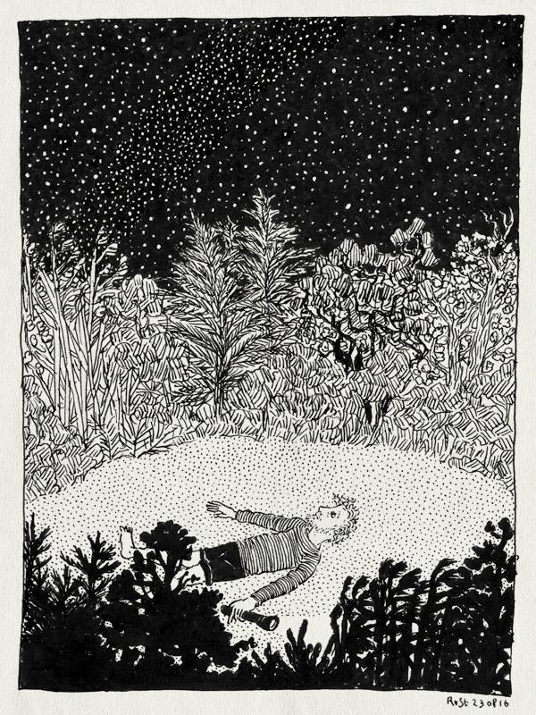 tekening 3378, camping, darkness, donker, field, frankrijk, helder, la borio de roque, languedoc, nacht, stars, sterren, sterrenhemel, torch, vakantie, zaklamp
