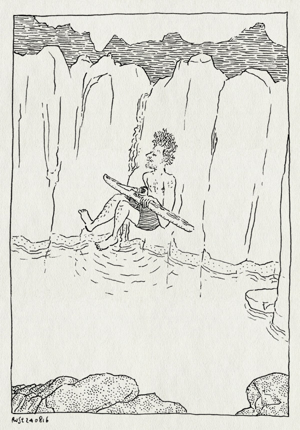 tekening 3379, gorge d'heric, heric, kloof, rots, snijden, springen, stokbrood, vakantie, water