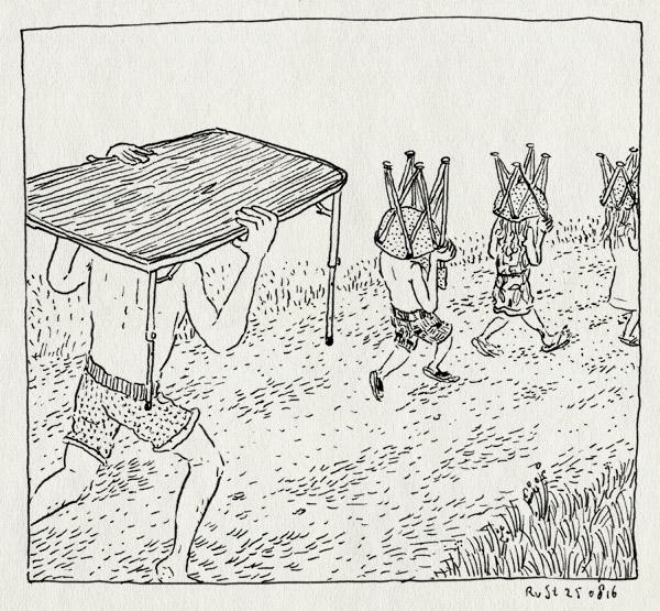 tekening 3380, alwine, camping, campingstoel, campingtafel, frankrijk, hannah, jules, la borio de roque, languedoc, midas, vakantie