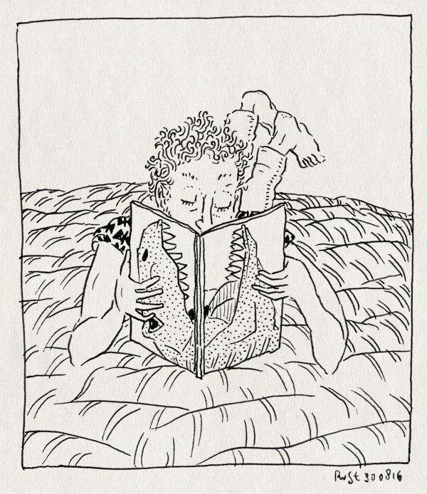 tekening 3385, bed, boek, dino, dinoboek, edward van de vendel, flo de goede, floor, ik ben bij de dinosaurussen geweest, lezen