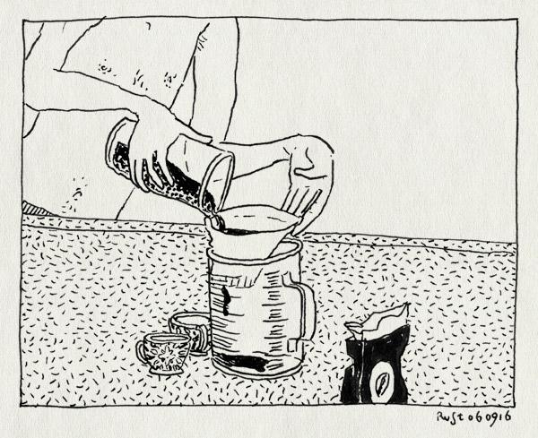 tekening 3392, caffetiere, filter, koffie, maatbeker, ochtend, stuk
