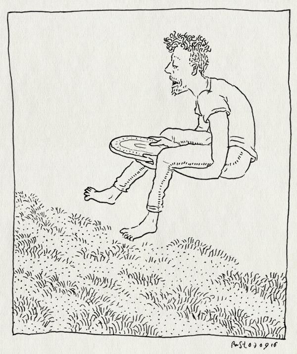 tekening 3393, amsterdam, frisbee, gras, midas, park, vangen, veld