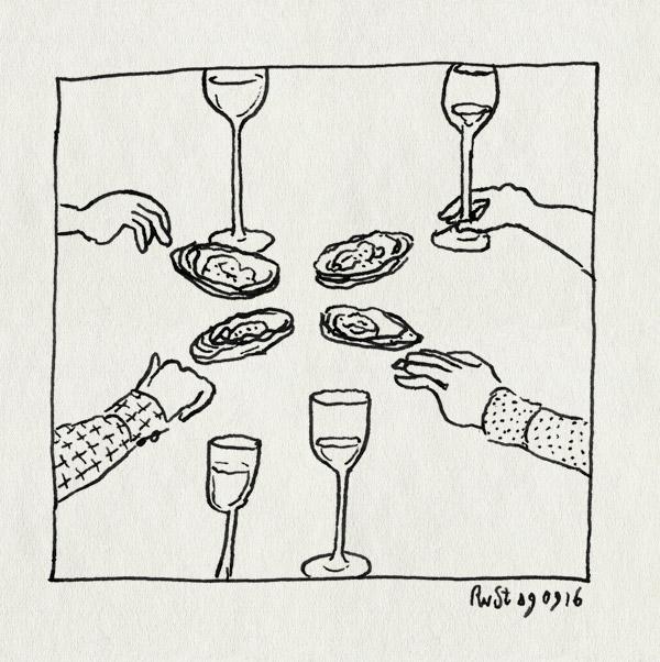 tekening 3395, cote ouest, frits, heeren, joris, nh49, nieuwe heeren, oester, oesters, rene, wijn