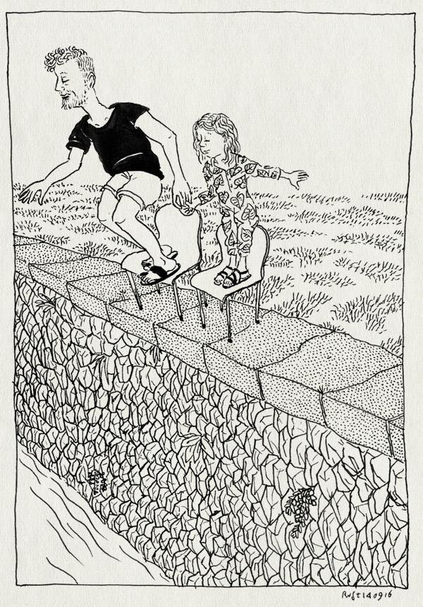 tekening 3400, alwine, amsterdam, iris, springen, stenen hoofd, zwemmen
