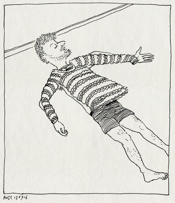 tekening 3401, grond, koud, liggen, slaap, trui, warm