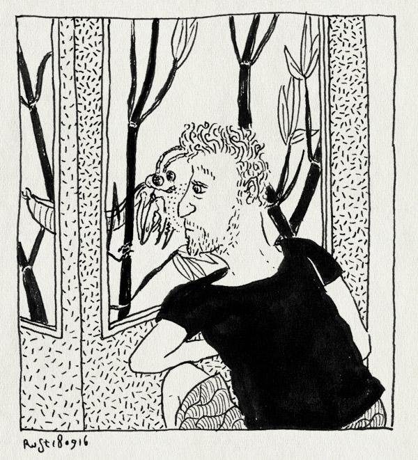 tekening 3404, artis, bidsprinkhaan, mantis, neus, vitrine