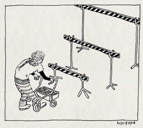tekening 3405, an, an nieuwenhuijs, dement, horden, hordes, hurdles, maatje, opname, ouder worden, rollator